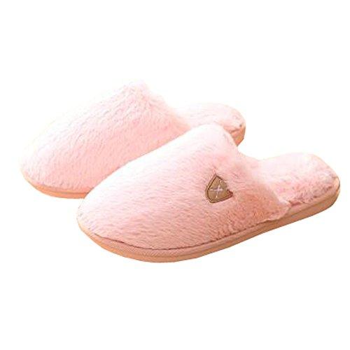 Femmes d'hiver et chaleureux Chaussures Indoor Maison Chaussons, Baby Pink