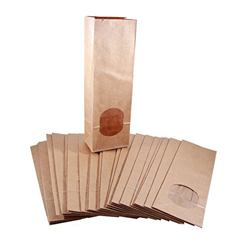 BODA Blockbodenbeutel mit Sichtfenster ca. 8x5x25cm, 50 Stück