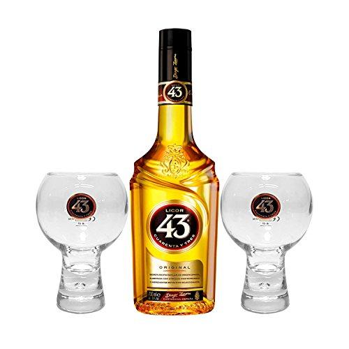 Licor 43 Cuarenta y Tres Set - Licor Cuarenta y Tres 0,7l 700ml (31% Vol) + 2x Gläser -[Enthält Sulfite] Likör Liquor 43er