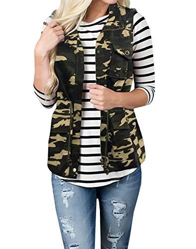 SOUGAO Women's Sleeveless Cargo Utility Safari Vest Lightweight Military Jacket Vest with Pockets (Green camo XL)