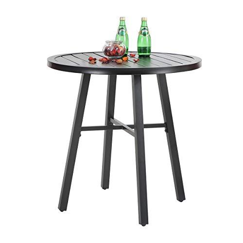 "PHI VILLA 28"" Metal Outdoor Patio Round Dining Table Outdoor Side Table for Garden,Pool Deck, Bistro - Black"
