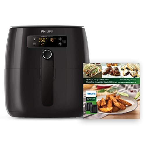 Philips Premium Digital Airfryer with Fat Removal Technology with Bonus 150+ Recipe Cookbook, 3 qt, Black HD9741/99 (Renewed)