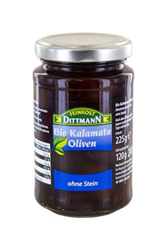Feinkost Dittmann Bio Kalamata Oliven schwarz ohne Stein, 6er Pack (6 x 225 g)