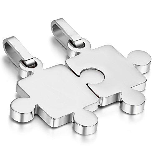 Cupimatch Colgante Puzzle Collares Pareja Dog Tag Rompecabezas Acero Inoxidable Joyería de Moda Regalo San Valentín Aniversario (Plateado)