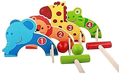 WXking Croquet Infantil Set Mini Golf para niños Dibujos Animados Puerta de Madera Bola de Juguete para Padres Juego...