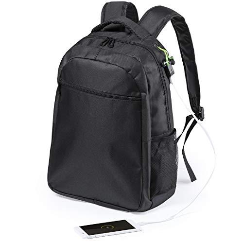 eBuyGB Duurzame Waterdichte Gecapitonneerde Laptop Rugzak met USB Opladen Poort en Hoofdtelefoon Interface - 12 L past 15 Inch Laptop/Tablet (Zwart)