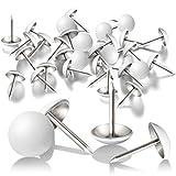 300 Pezzi Chiodini Puntini per Tappezzeria Bianchi di 11 mm Puntine per Mobili Decorativi Push Pin di Testa a Diametro di Pollice per Mobili Sofa Testiere Sughero Tavola