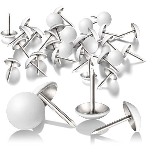 300 Piezas Tachuelas Clavos de Tapicería Blancos 11 mm Chinchetas de Muebles Decorativos para Sopa Cabeceros Tablero de Corcho