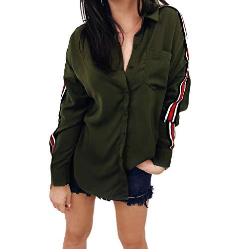 Shirt Langarmshirt Damen Bluse Xjp Frauen Mode Umlegekragen Einfarbig Gestreift Langarmshirt Mit Tasche Sexy Elegant Beiläufige Lang Oberteile Sweatshirt Hemd(S, Armeegrün)