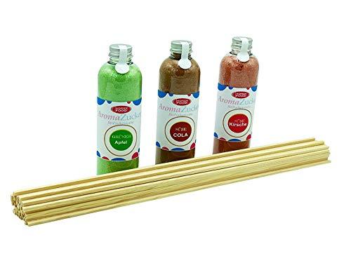 Zucker für Zuckerwatte 3 x 230 Gramm für Zuckerwattemaschine Inklusive 50 Zuckerwattestäbe (Set 2 Apfel, Cola, Kirsche + 50 Stäbe)