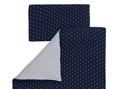 KraftKids Bettwäsche-Set Musselin dunkelblau Anker Musselin grau Anker aus Kopfkissen 80 x 80 cm und Bettdecke 140 x 200 cm, Bettbezug aus Baumwolle, handgearbeitete Bettwäsche gefertigt in der EU
