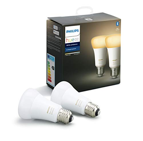 Philips Lighting Hue White Ambiance Lampadine LED Connesse, con Bluetooth, da Luce Bianca Calda a Fredda, Attacco E27, 8.5 W, 2 Pezzi