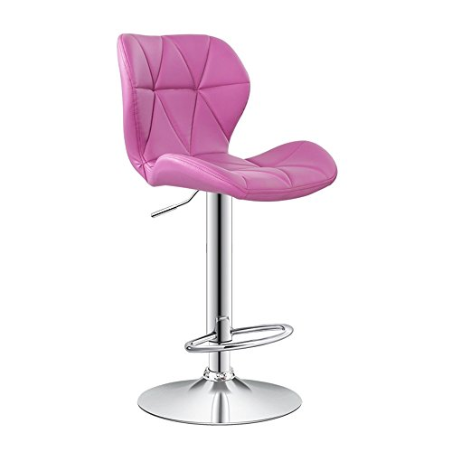 ZLL-Stühle Nordic Fashion Stuhl Barhocker drehen/Heben Stuhl Schwamm Rückenlehne PU Art hohe Stuhl (hell lila)