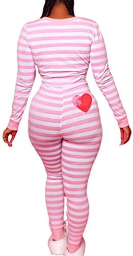 Women Striped One Piece Pajama Union Suit Underwear Set Long Sleeve Christmas Jumpsuit Sleepwear product image