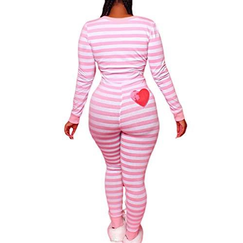 Women Striped One Piece Pajama Union Suit Underwear Set Long Sleeve Christmas Jumpsuit Sleepwear (Pink, L)