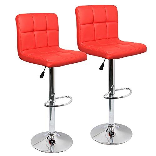 2er-Set Barhocker, Barstuhl mit Lehne und robustem Standfuß, Höhenverstellbar Tresenhocker, Moderner Drehhocker für Küchen und Bars, dick gepolsterte Sitzkissen (Rot, Leder)