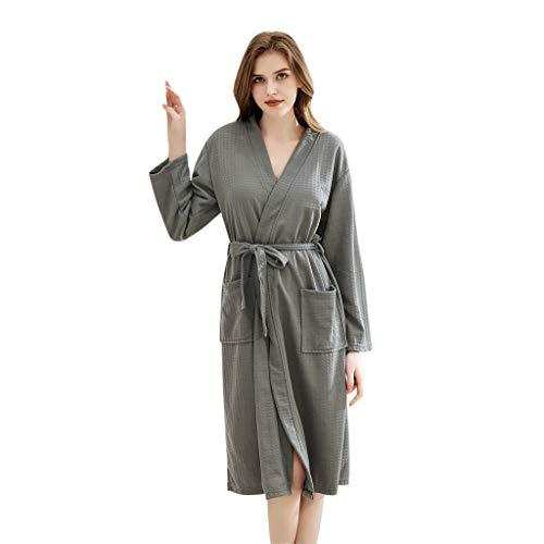 Celucke Morgenmantel Damen Herren Bademantel Unisex Saunamantel Schlafanzug Pyjama Weicher Fleece Saugfähig Bequem Lange Nachthemd mit 2 Taschen und Gürtel (Grau, XL)