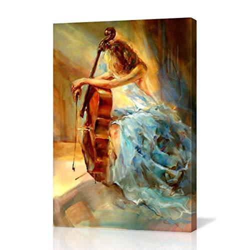Hianiquaime Niña Cello Abstractos Óleo Cuadro Impresion en Lienzo Modernos Pintura Decorativo para Salon Dormitorios Habitacion Casa Decoracion 40x60cm
