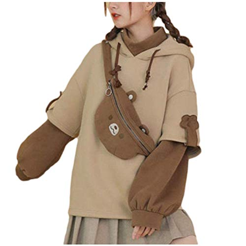 LJH Harajuku Ästhetische Bär Anime Hoodie Frauen Koreanisch Kawaii Rundhalsausschnitt Streetwear Kpop Herbst Winter Kleidung Tops mit Kordel und Taschen