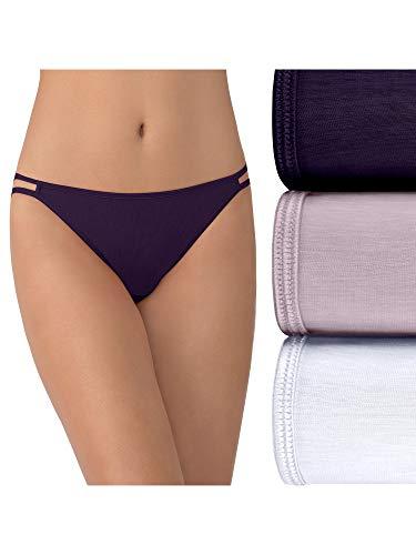 Vanity Fair Women's Illumination String Bikini Panties (Regular & Plus Size), 3 Pack - Sangria/Earthy Grey/White, 7