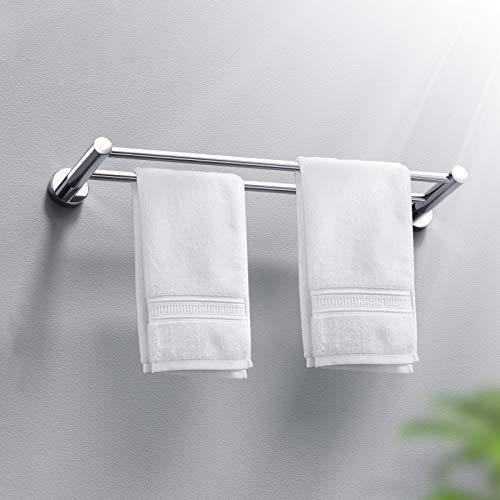 HONEYWHALE Doppel Handtuchhalter Wand Montage 40cm für Bad und Küche Edelstahl Handtuchstange Matt Gebürstet 304 Rostfreier Stahl
