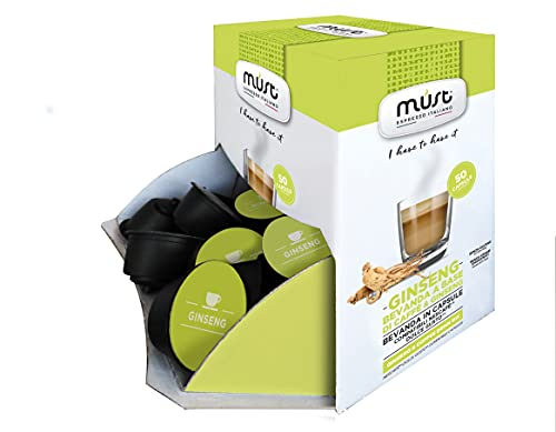MUST 50 Cápsulas de Ginseng Autoprotegido en Plástico 100% Reciclable, Mezcla de PANAX GINSENG Display in Box Cápsulas Compatible con la Máquina Dolce Gusto Made in Italy