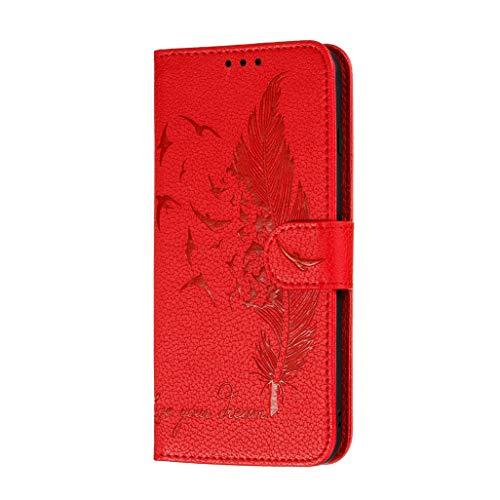 GOGME Hülle für Oppo Find X3 Neo Handyhülle, Ziemlich Retro Geprägt Feder Muster Design PU Leder Buch Stil Brieftasche Flip Cover, Oppo Find X3 Neo Schutzhülle, Rot