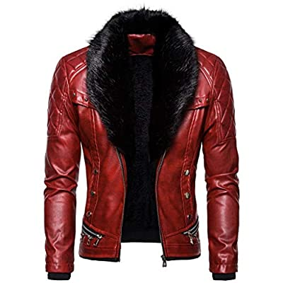 Pan Hui Men's Vintage Faux Leather Lined Moto Jacket with Hoodie Winter Warm Fur Liner Lapel Zipper Outwear Coat Red