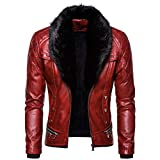 SPE969 Men's Zipper Removable Fur Collar Jacket,Leather Vintage Steam Pocket Punk Gothic Retro Coat Red