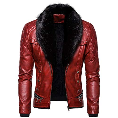 Landscap Men's Leather Jacket Vintage Steam Pocket Zipper Jacket Fur Collar Punk Gothic Retro Coat Red