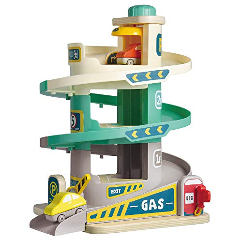 TOP BRIGHT Car Parking Garage Toy for Boys and Girls, Car Ramp Toy Garage with 3 Levels and Elevator - http://coolthings.us