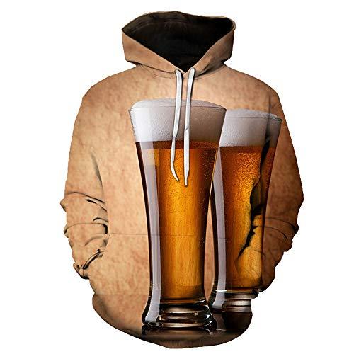 BEIXUNDIANZI Sweethearts Outfit Mens Lustige 3D Hoodies Mit Kapuze Frauen Sweatshirts Digital Realistisch Ich Bin in der Zeit Trinken Bier Modekleidung G-Coffee XL