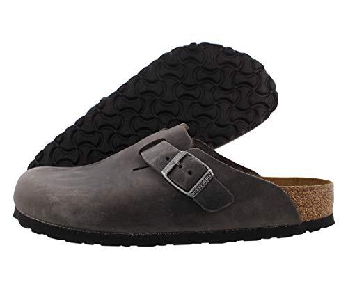 Birkenstock Women's Boston Soft Foot Bed Sandal, Iron Oil Leather, 38 N EU