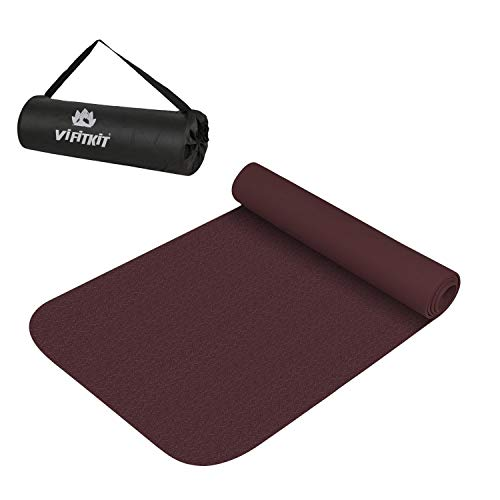 VIFITKIT High-Density Non-Slip Yoga Mat with Bag, Made in India (Wine, 6 mm)