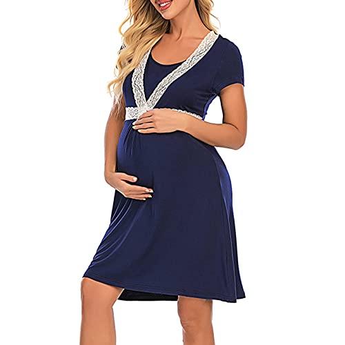 LZJDS Vestido de Maternidad para Mujer Nightgown Nightgown Nighwear para la Lactancia Materna decoración de Encaje de la Manga Corta Camisa de Dormir Ropa de Dormir Suelta Osmwear,Navy Blue,XL