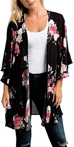 Crystallly Kimono de gasa con estampado floral para mujer, estilo simple, bufanda, poncho de playa, blusa vintage Burke elegante (color: J Schwarz, talla única, 3XL)