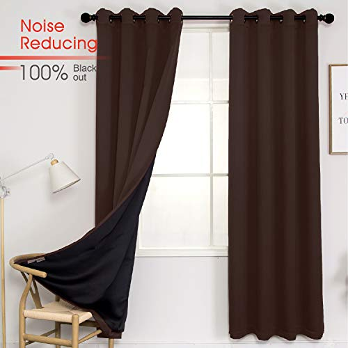 Thermal 100% Blackout Grommet Curtain for Room,Double-Layer Multi-Function Noise Reducing Performance Drapes with Black Lining, Full Light Blocking Drapery Panels,1 pair,52'x84', Cocoa Brown