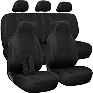 OxGord Car Seat Cover - Poly Cloth Solid Black with Front Low Bucket and 50-50 or 60-40 Rear Split Bench - Universal Fit for Cars, Truck, SUV, Van - 10 pc Complete Set