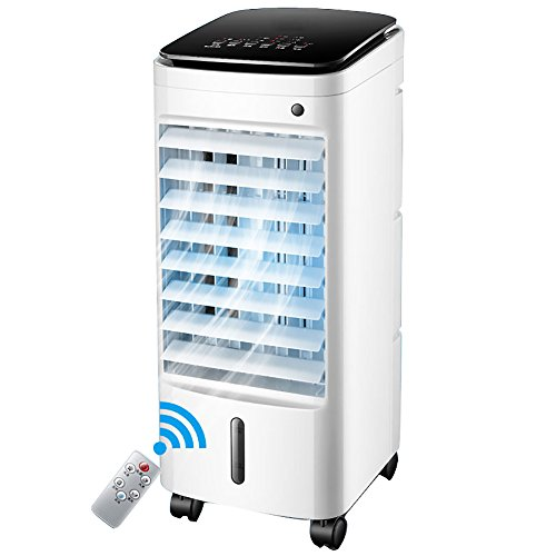 Small Portable Air conditioner fan, Mobile air-conditioning fan Water-cooled air conditioner With dehumidifier Evaporative coolers Home Dormitory-White