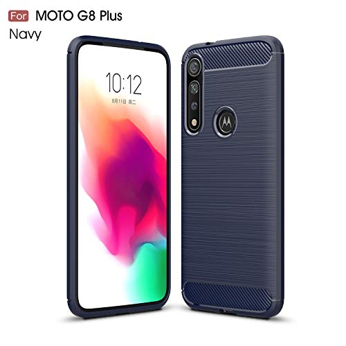 Preisvergleich Produktbild NUPO Hülle für Moto G8 Plus,  Silikon TPU Schale Kratzfest Kohlefaser Optik Cover Carbon Fiber Look Shockproof Schutzhülle Case für Motorola G8 Plus Smartphone (Blau)