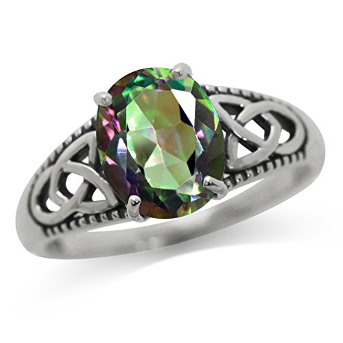 Silvershake 2.36ct. Natural African Amethyst 925 Sterling Silver Triquetra Celtic Knot Solitaire Ring Size 9