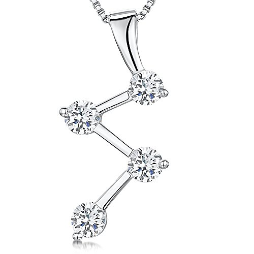 JOOLS van Jenny Brown ® zilveren hanger met een Zig Zag zilveren hanger met vier CZ stenen