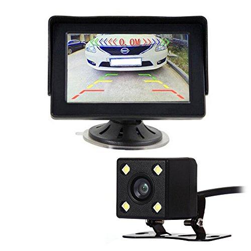 GOFORJUMP 2in1 TFT LCD 2 entrée vidéo 4,3 Pouces Moniteur de stationnement de Voiture avec Vue arrière lentille en Verre de caméra + câble vidéo 6M RCA 10M