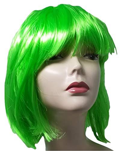 R&F srls Parrucca Corta Liscia Verde Travestimento Carnevale Festa