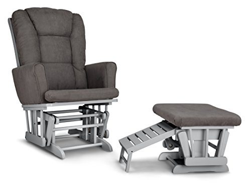 Graco Sterling Semi Upholstered Glider and Nursing Ottoman, Pebble Gray Gray Cleanable Upholstered Comfort Rocking Nursery Chair with Ottoman