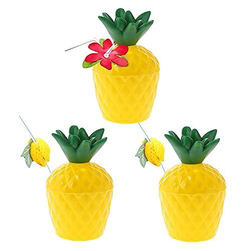 QUUPY 3 tazas de piña de plástico, con 3 pajitas, se utilizan en fiestas de playa para niños
