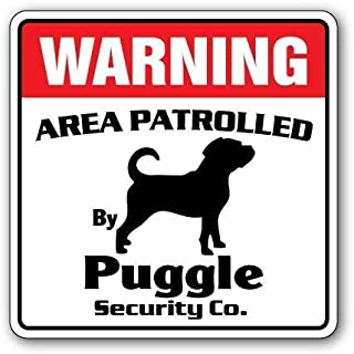 Guadalupe Ross Metal Tin Sign Puggle Security Sign Area Patrolled by pet Signs Dog Owner Lover Kennel Boarding Wall Decor Sign 12x8 Inches