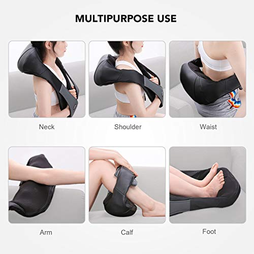 Naipo Neck and Shoulder Massager Deep Kneading Shiatsu Massager Adjustable Intensity with Heat