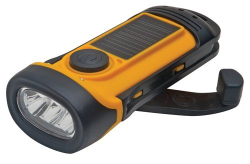 Aervoe 7425 Soladyne 3-LED Solar/Dynamo Charged Waterproof Submersible Flashlight, Yellow and Black, Pack of 1