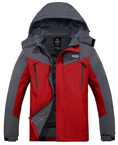 Wantdo Men's Waterproof Ski Jacket Windproof Winter Coats Parka Anorak Daily Wear Red M